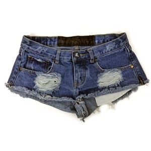 One Teaspoon Trashies Shorts Denim Distressed 6/24